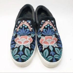 Rebecca Minkoff Floral Embroidery Studded Slip Ons